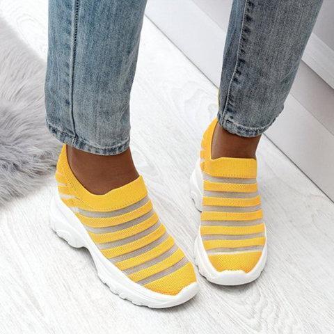 Women Low Heel Mesh Round Toe Fashion Sneakers