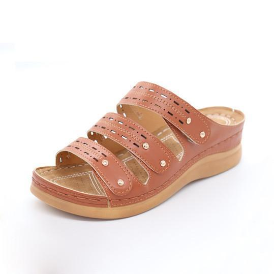 Fashion Thick Bottom Rivet Hollow Out Sandals