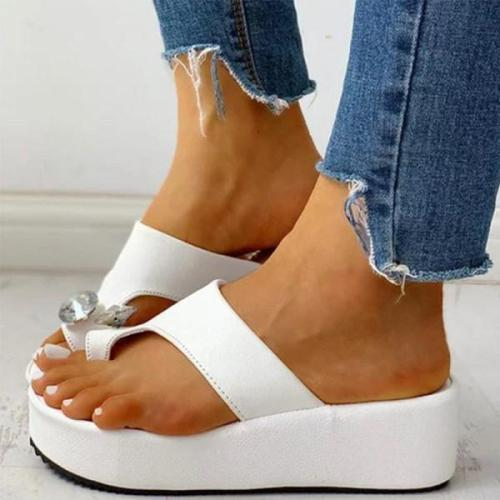 Plain Peep Toe Casual Comfort Slippers