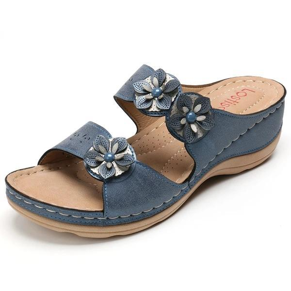 Flowers Slip On Soft Casual Wedge Sandals