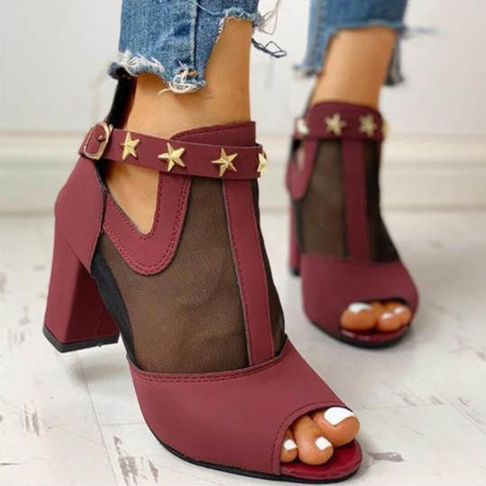 Fishnet high heel sandals