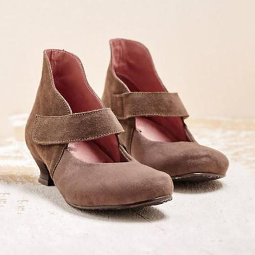 Vintage Women Square Toe Cross Tie Mid Heel Shoes