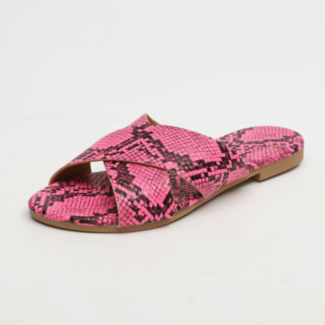 2020 New Fashion Woman Flat Snake Skin Sandals