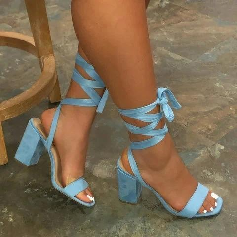 Women Chunky Heel Casual Lace-Up Fall Eva Sandals