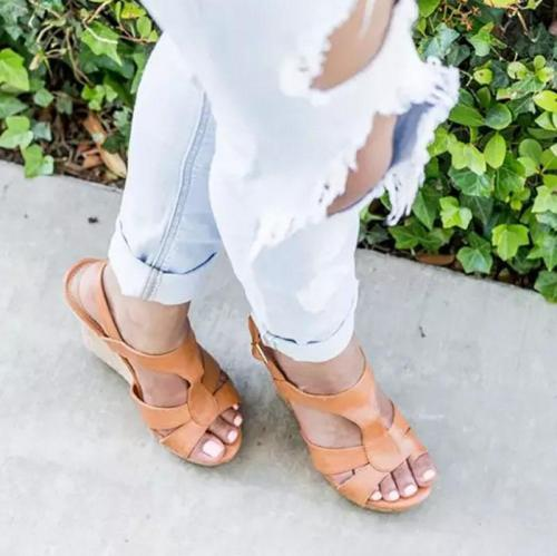 Plus Size Fashion Platform Buckle High Wedge Sandals