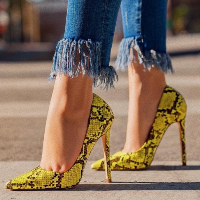 Women Snake Pattern High Heels Sandals