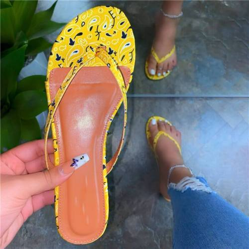Women Fashion Pattern Thongs Slip On Flat Heel Slippers