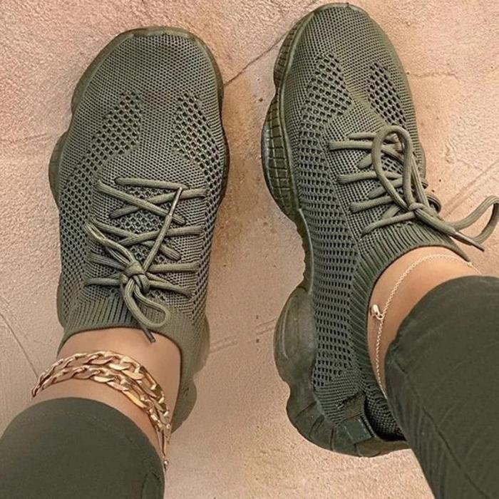 Low-Cut Upper Lace-Up Round Toe Plain Platform Sneakers