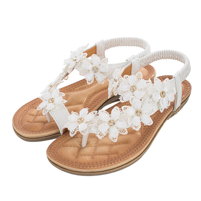 2020 New And Fashional Woman Ancient Flower Flat Sandals