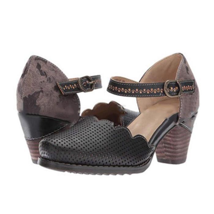 Women Vintage Wave Edge Ankle-Strap Hollow Sandals