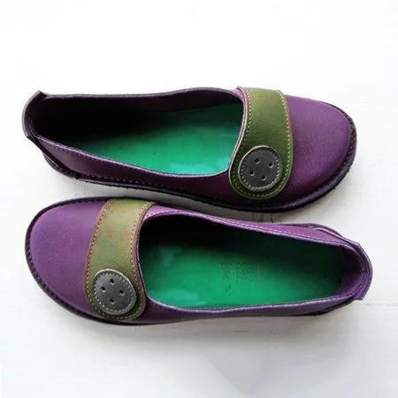 Women Soft Buttoned Daily Flat Heel Pu Loafers