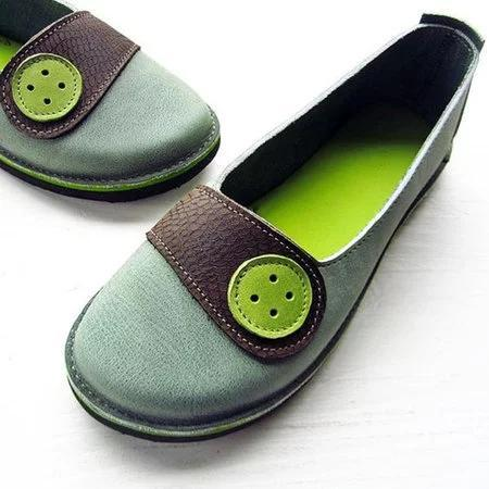 Women Soft Buttoned Daily Flat Heel Pu Loafers