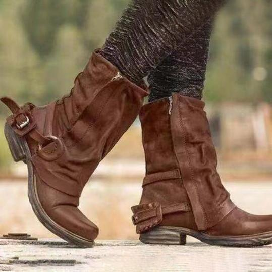 Distressed Plain Round Toe Boots
