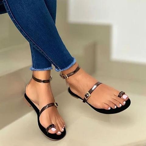 Summer Flat Heel Buckle Strap Sandals