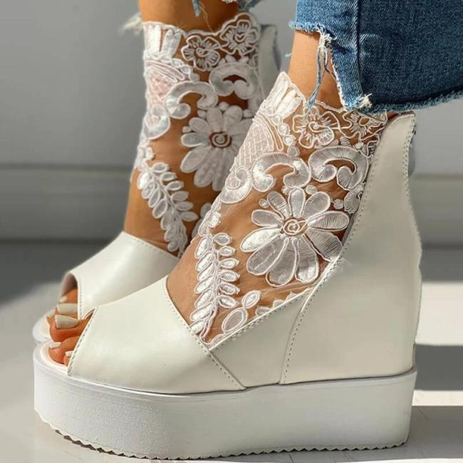 Women Fashion Lace Hollow Out Wedge Sandals