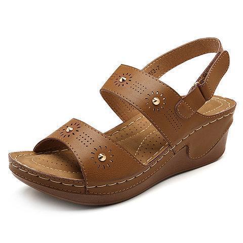 Women Daily Lightweight Hollow Hook Loop Wedges Heel Sandals