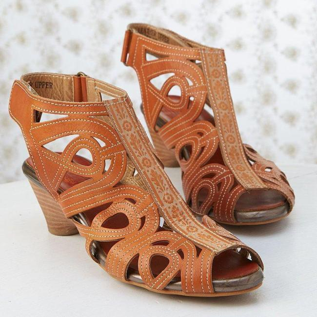 VINTAGE HOLLOW-OUT PEEP-TOE MEDIUM HEELS MAGIC TAPE SLING-BACK SANDAL