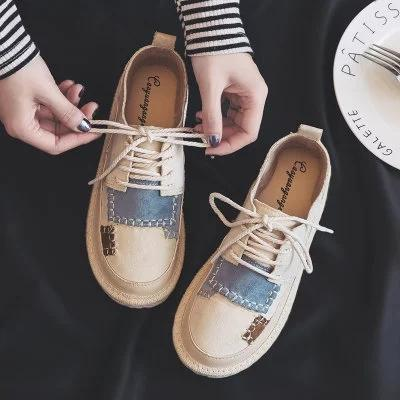 Women Lace-up Platform Suede Daily Flats Casual Loafers