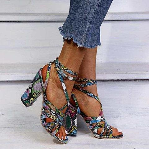 Adjustable Buckle Chunky Heel Sandals Colorful Fashion Heels