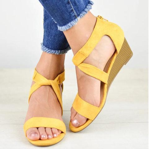 Wedge Heel Cloth Criss Cross Open Toe Zipper Wedges Sandals