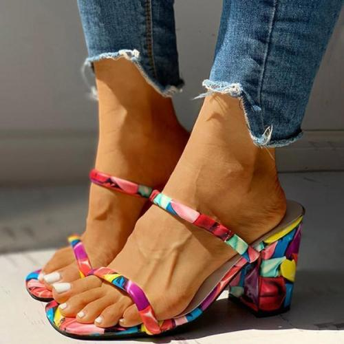 Fashion print simple sandals