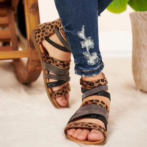 Women Plus Size Flat Heel Zipper Open Toe Gladiator Sandals