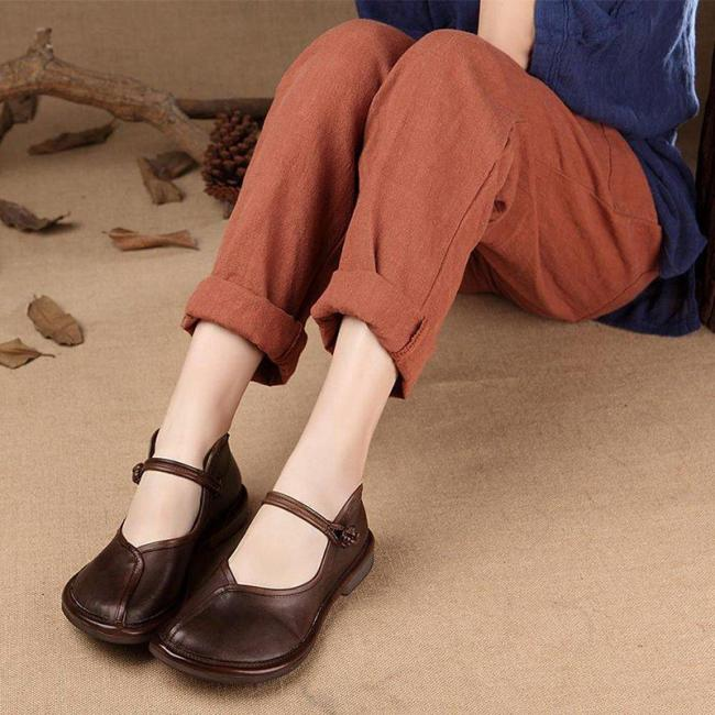 Women Casual Handmade Charlie Brown  Flat Heel Shoes