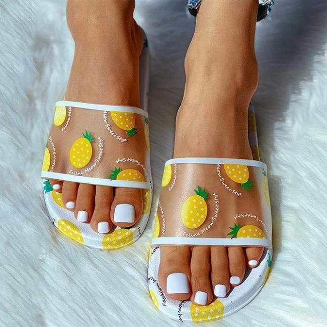 Pineapple Printed Waterproof Beach Slippers
