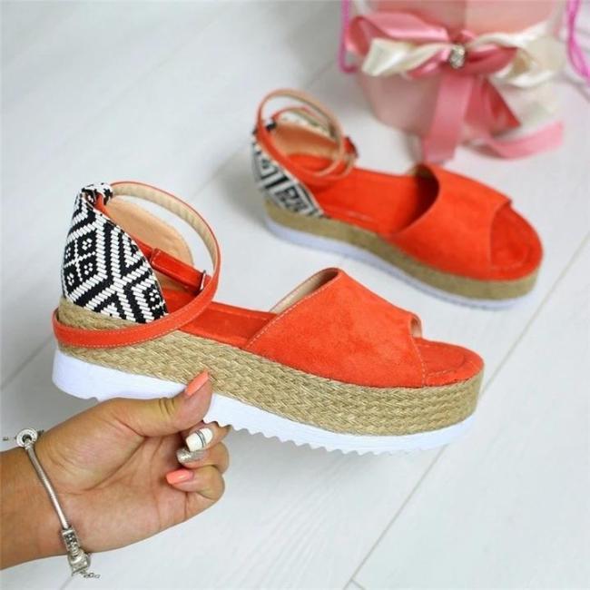 Women Elegant Fashion Thick Sole Adjustable Buckle Sandals