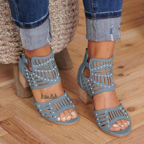 Women Cut-out Slip-on Stylish Mid Heel Sandals Shoes