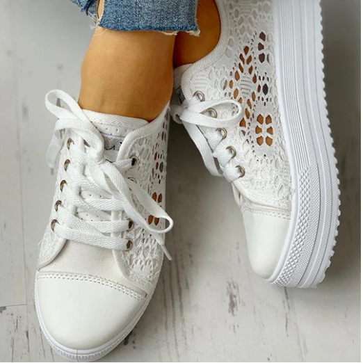 2020 New Fashion Canvas Sneakers Women's Casual Hollow Design Platform Shoes