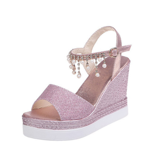 2020 New Women Summer Bead Studded Detail Platform Wedge Sandals