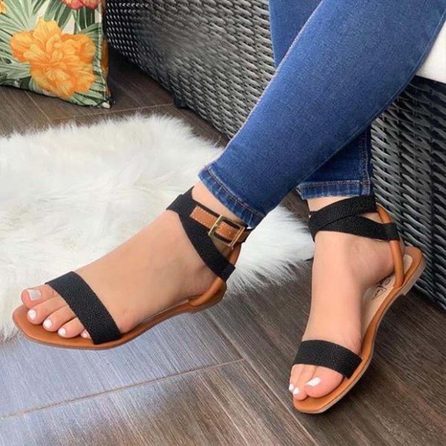 Adjustable Buckle Flat Sandals