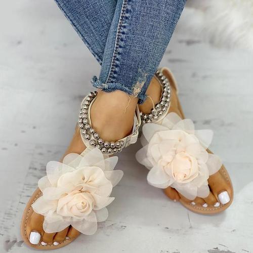 Mesh Floral Embellished Beaded Flat Sandals