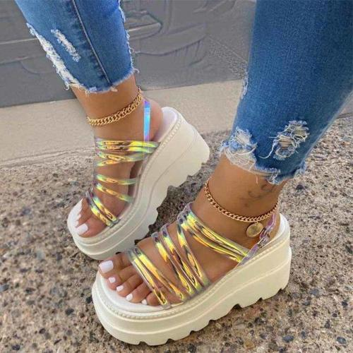 Color Summer Wedge Heel Pvc Sandals