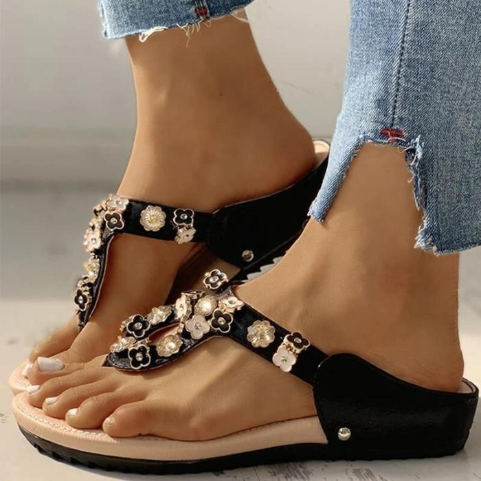 Women Fashion Flower Pattern Rhinestone Slippers