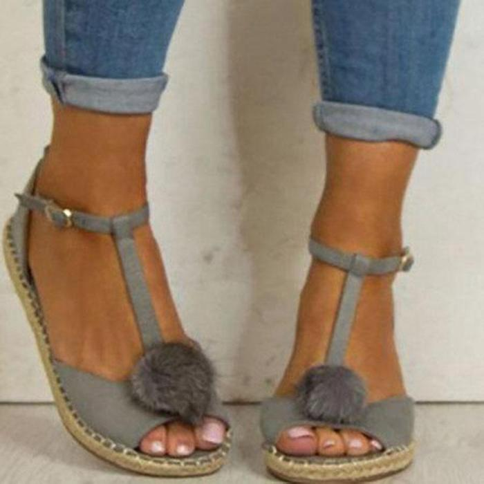 Plus Size Peep Toe Adjustable Buckle Sandals Woman Sandals