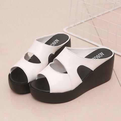 Wedge Heel Peep Toe Hollow-Out Women Slippers
