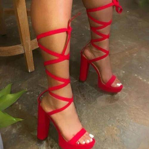 Lace-Up Chunky Heel Open Toe Ankle Strap Plain Casual Sandals