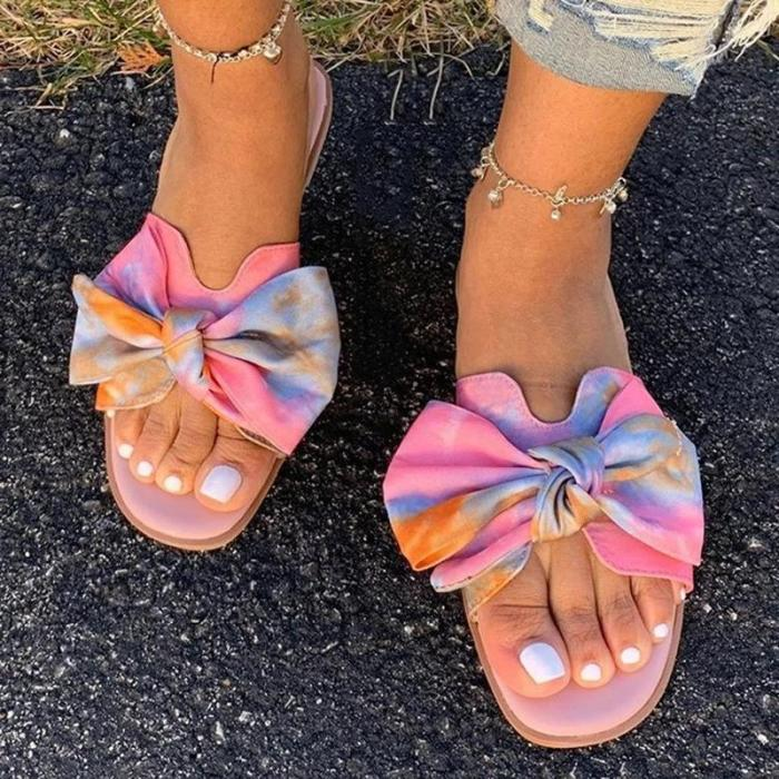 Slip-On Bow Flat With T-Straps Rubber Summer Slippers