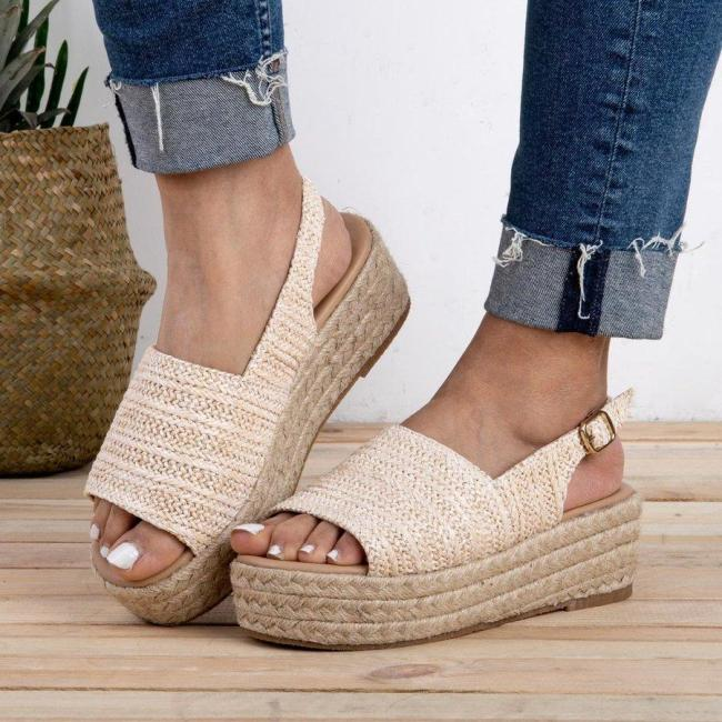 Weaving Espadrille Platform Sandals Summer Peep Toe Sandals