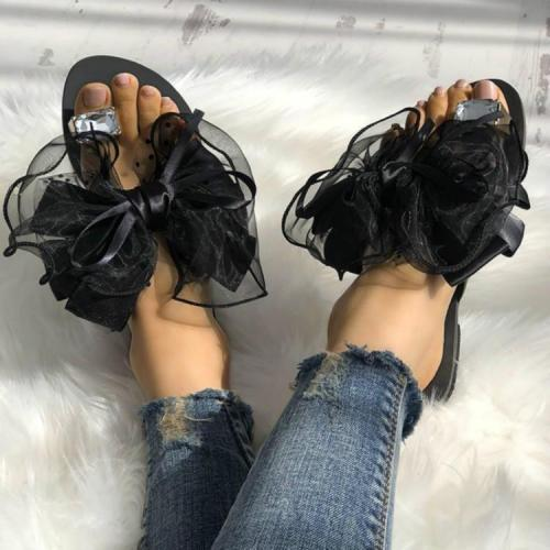 Large Size Women Summer Rhinestone Lace Organza Bow Knot Flat Slippers
