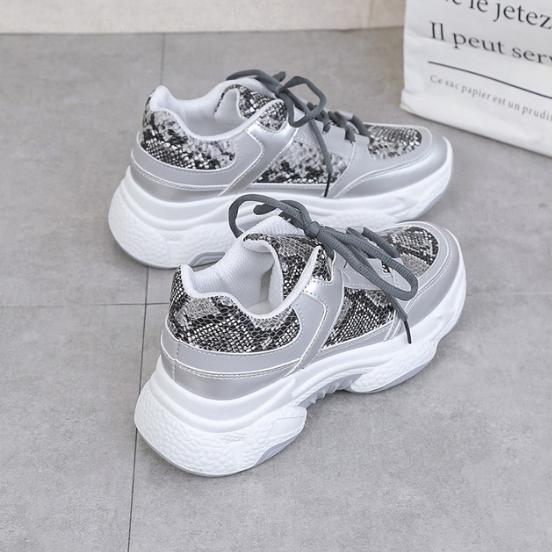 2020 New Woman Snakeskin Pattern Chunky Sneakers