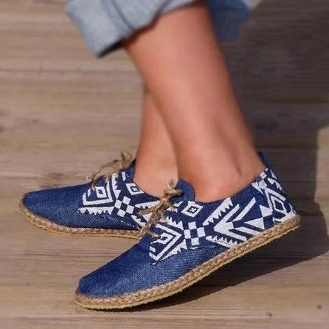 Blue Lace-Up Cloth Flat Heel Round Toe Espadrille Loafers