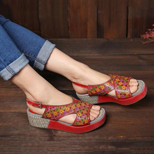 Candy Color  Hollow Flowers Pattern Platform Buckle Strap Sandals