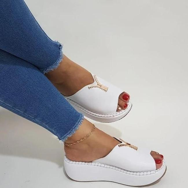 WOMEN CASUAL SUMMER SLIP ON ZIPPER WEDGE SANDALS
