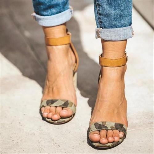 Fashion Simple Camouflage High Heel Sandals