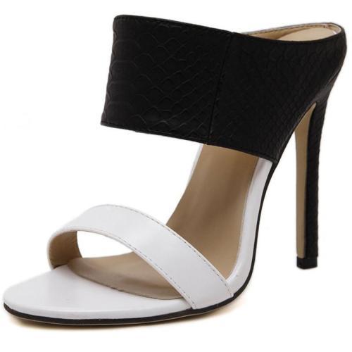 Color Block Slip-On Stiletto Heel Open Toe Sandals