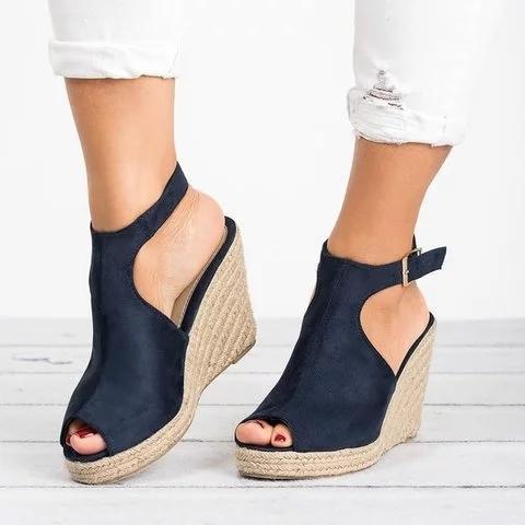 Espadrille Wedge Heel Sandals Adjustable Buckle Peep Toe Sandals