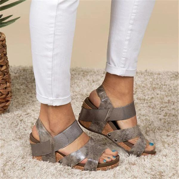 Women Comfy Slip-on Wedge Sandal